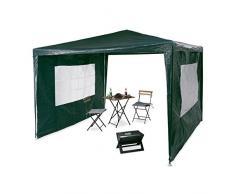 Relaxdays Pavillon 3x3 m, 2 Seitenteile, Metall Gestell, PE Plane, Fenster, Festival Partyzelt, Geschlossen, Grün