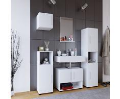 VCM Badmöbel Set Komplettset 5-tlg Bad Badezimmer Badschrank Unterschrank Spiegel Hängeschrank Weiß Hebola l