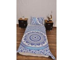 indischen blau weiß Urban Azteken Outfitters Wandteppich Mandala Überwurf Tagesdecke Gypsy Boho Single Twin Doona Bettdeckenbezug und 1 Kissenbezug Set 100% Baumwolle 203,2 x 137,2 cm.