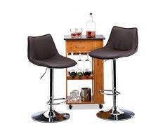 Relaxdays Barhocker 2er Set, höhenverstellbar, drehbar, mit Lehne, Kunstleder, Metall, HxBxT: 107 x 45 x 45 cm, braun