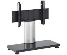 VCM TV Ständer Fernseh Tisch Glas Standfuß Halterung Stand Möbel Rack VESA Universal silber/weißlack 55 x 68 x 30 cm