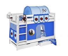 Lilokids Etagenbett Jelle TÜV und GS geprüft Dragons, Hochbett mit Vorhang und Lattenroste Kinderbett, Holz, blau, 208 x 98 x 150 cm