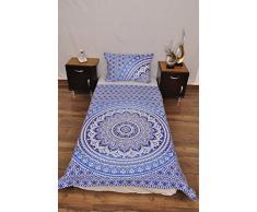 indischen blau weiß Urban Ombre Outfitters Wandteppich Mandala Überwurf Tagesdecke Gypsy Boho Single Twin Doona Bettdeckenbezug und 1 Kissenbezug Set 100% Baumwolle 203,2 x 137,2 cm.