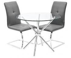 Febland Chrom Criss-Cross-Basis Esstisch und 2 Belmont Esszimmerstühle, Glas, Grau, 74 x 90 x 90 cm