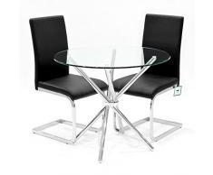 Febland Chrom Criss-Cross-Basis Esstisch und 2 Coco Esszimmerstühle, Glas, Schwarz, 74 x 90 x 90 cm