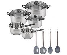 San Ignacio Akku-Küche 8Teile SIP (Zwei Töpfe + DREI Töpfe mit Glasdeckel) und Set 4: Küchenutensilien, Pfannenwender, Schöpflöffel, Löffel und Spachtel