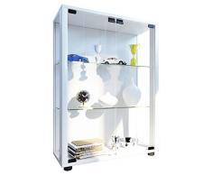 VCM Sammelvitrine Standvitrine Glasvitrine Glasregal Vitrine Glas Schaukasten mit LED-Beleuchtung Weiß Sintalo