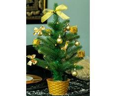 Best Season LED Weihnachtsbaum mit Dekoration, gold, ca. 45cm, Plastik, Grün, 20 x 20 x 45 cm