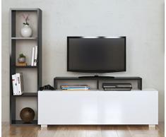 ASTER Wohnwand - Weiß / Schwarz - TV Lowboard - Fernsehtisch mit Regale in modernem Design …