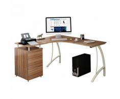 Eckschreibtisch / Schreibtisch CASTOR mit Stand-Container Nussbaum / elfenbein hjh OFFICE