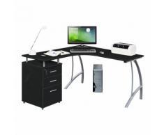 Eckschreibtisch / Schreibtisch / Computertisch CASTOR mit Stand-Container Graphit / Silber hjh OFFIC