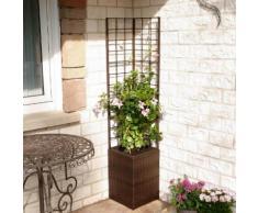 Outdoor-Rattan-Blumenkasten mit Rankgitter und Bewässerungssystem, quadratisch