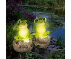 EASYmaxx Solar-Leuchten Frosch 2er-Set