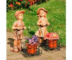 Gartenfiguren Peterle und Lieschen, 2er-Set