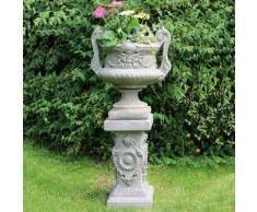 Gartenfigur Barock-Pokal auf Säule