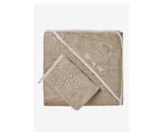 VERTBAUDET Badecape mit Waschhandschuh, bestickbar taupe Gr. 100X100