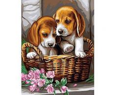 Malen nach Zahlen mit Acrylfarbe Hunde im Korb, 23 x 30 cm