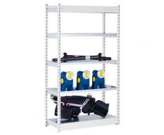 Stabil-Steckregal, einseitig - Regalhöhe 2000 mm, lichtgrau/verzinkt, Bodenbreite