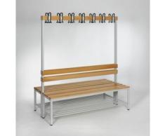 Garderobenbank - doppelseitig, mit Lehne, HxT 1700 x