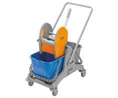 QUIPO Kunststoff-Reinigungswagen - Set mit 2 x 15-l-Doppelfahreimer