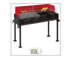 heute-wohnen, Barbecue- Holzkohlegrill, 2 Grillroste, 1 Grillpfanne, 70x31x92 cm