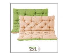 Meerweh, Matratzenauflage mit Rückenteil Sitz und Rückenkissen mit Bänder Polsterauflage Sitzbankpolster Wendeauflage, grün/beige, ca. 100 x 98 x 10 cm, Grün