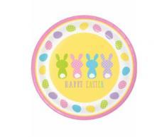 Pappteller-Osterhasen Happy Easter 8 Stück bunt 22 cm Einheitsgröße
