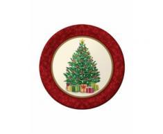 8 kleine Pappteller mit Weihnachtsbaum Einheitsgröße