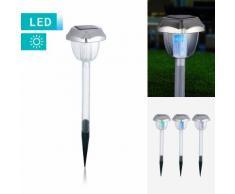 3er-Set Klassische LED-Solarlampe mit Erdspieß