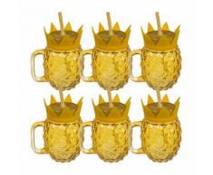 6er-Set Trinkglas im Ananasdesign