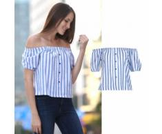 Off-Shoulder-Bluse mit dekorativer Knopfleiste