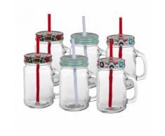6er-Set Trinkglas mit Strohhalm im Weihnachtsdesign