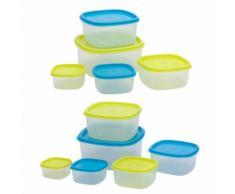 Mehrteiliges Set Frischhaltedosen mit zweifarbigen Deckeln