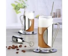 7-teiliges Set Gläser mit Löffel & Milchschäumer