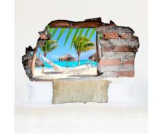 3D-Vinyl-Wandsticker Strand mit Hängematte