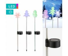 3er-Set LED-Solarleuchte mit Wintermotiven