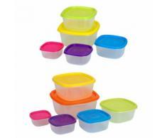 Mehrteiliges Frischhaltedosen-Set mit farbigen Deckeln