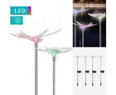 4er-Set LED-Solarleuchte Schmetterling & Libelle