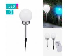 2er-Set LED-Solar-Kugellampe