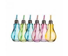 6er-Set farbiges Trinkglas Glühbirne