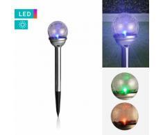 LED-Solarlampe mit Glaskugel & Farbwechseleffekt