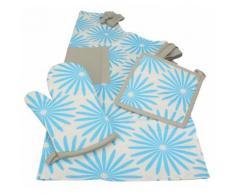 Küchenschürze Topfhandschuh Topflappen BLUME 3 tlg. Farbe Blau