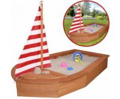 Sun Sandkasten Boot mit Segel und Abdeckplane (Braun) [Kinderspielzeug]