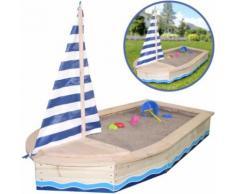 Sun Sandkasten Boot Maritim mit Segel und Abdeckplane (Natur-Blau) [Kinderspielzeug]