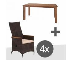 Siena Garden Move Plus II Sessel 5-teiliges Gartenmöbelset maron 160x90cm