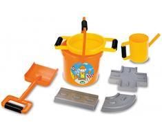 Lena 05440 - Happy Sand Spielset Straßenbau, 7 teiliges Set, orange, Sandspielzeug Set für Kinder ab 2 Jahre, Bauspielset mit Eimer, Sieb, 3 Straßenbau Förmchen, große Sandschaufel und Ölkanne