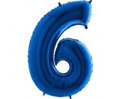 Trendario Folienballon Zahl 6 (Blau) - XXL Riesenzahl 100cm Ballon - Helium Luftballons für Geburtstag, Partydeko, Hochzeit (Zahl 0, Silber)