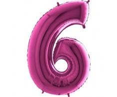 Trendario Folienballon Zahl 6 (Rosa) - XXL Riesenzahl 100cm Ballon - Helium Luftballons für Geburtstag, Partydeko, Hochzeit (Zahl 0, Silber)