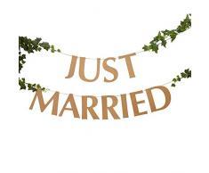 Neviti 775813 - Hearts & Krafts-Just Married Wimpelkette, groß, braun, Kraft, 200 x 16 cm