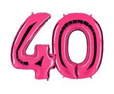 Ballon Zahl 40 in Pink - XXL Riesenzahl 100cm - zum 40. Geburtstag - Party Geschenk Dekoration Folienballon Luftballon Happy Birthday Rosa - PARTYMARTY GMBH